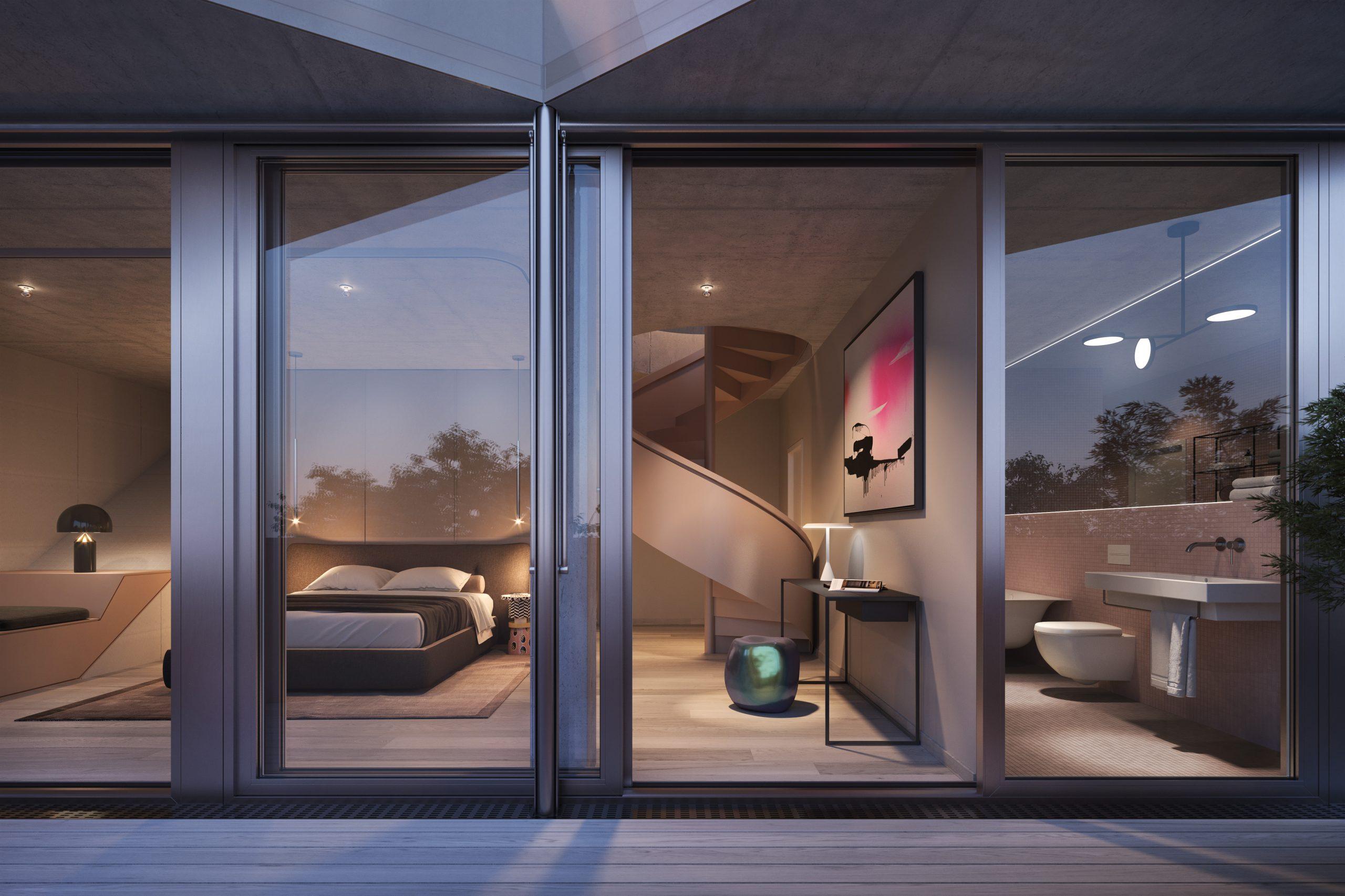 JOUX (JOX) Duplex-Apartment Blick von außen in Schlafzimmer und Bad